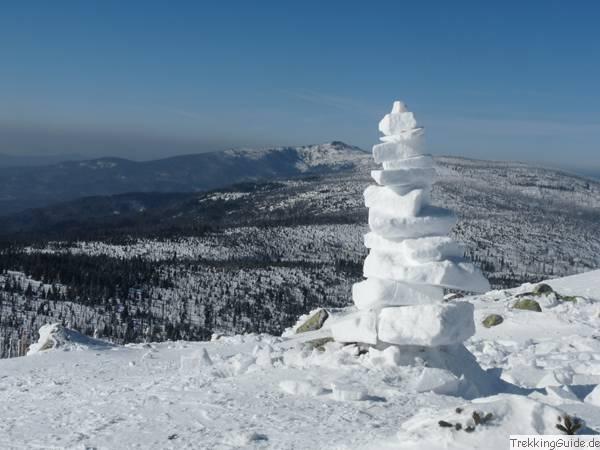 Schneeschuhtour Bayerischer Wald: Blick vom Lusen